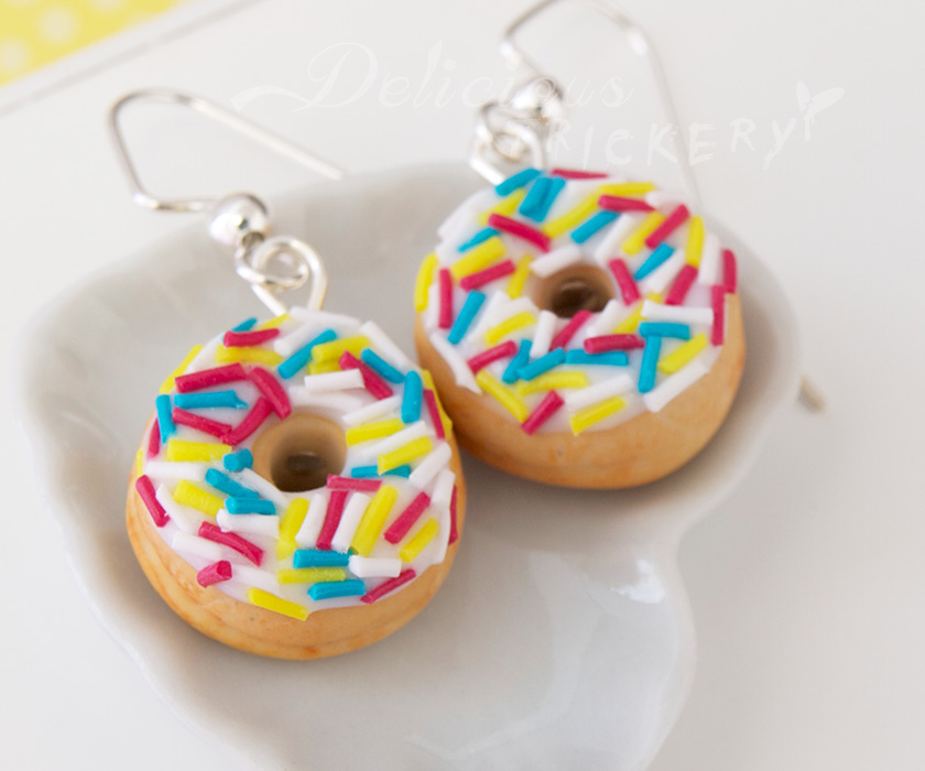 Sprinkled Donut Earrings by DeliciousTrickery