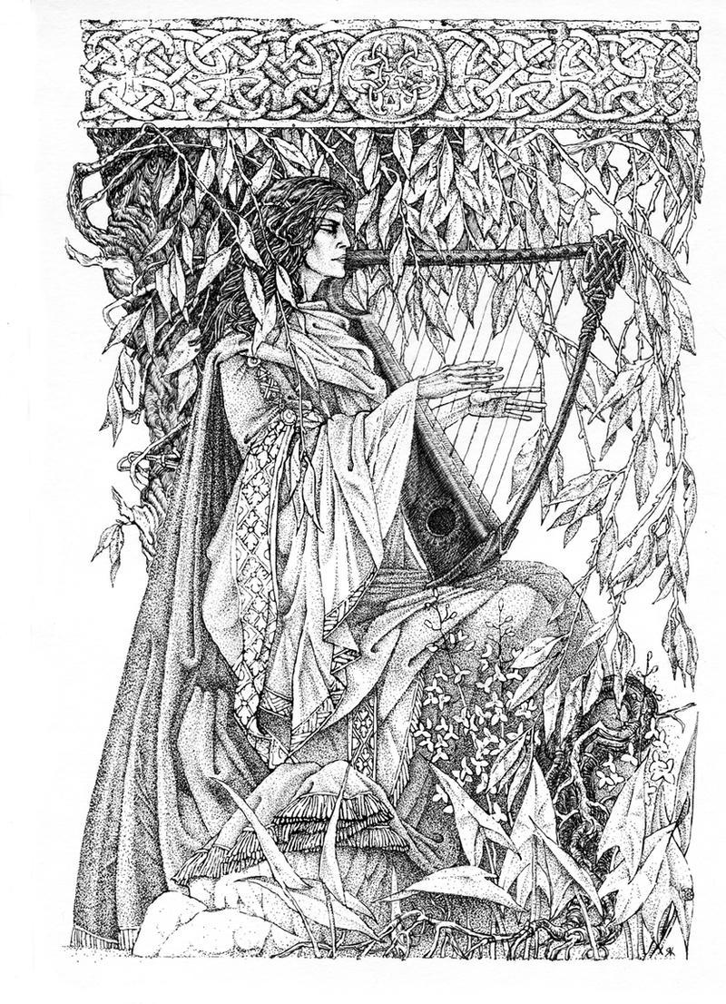 Morgen the harpist by Folda