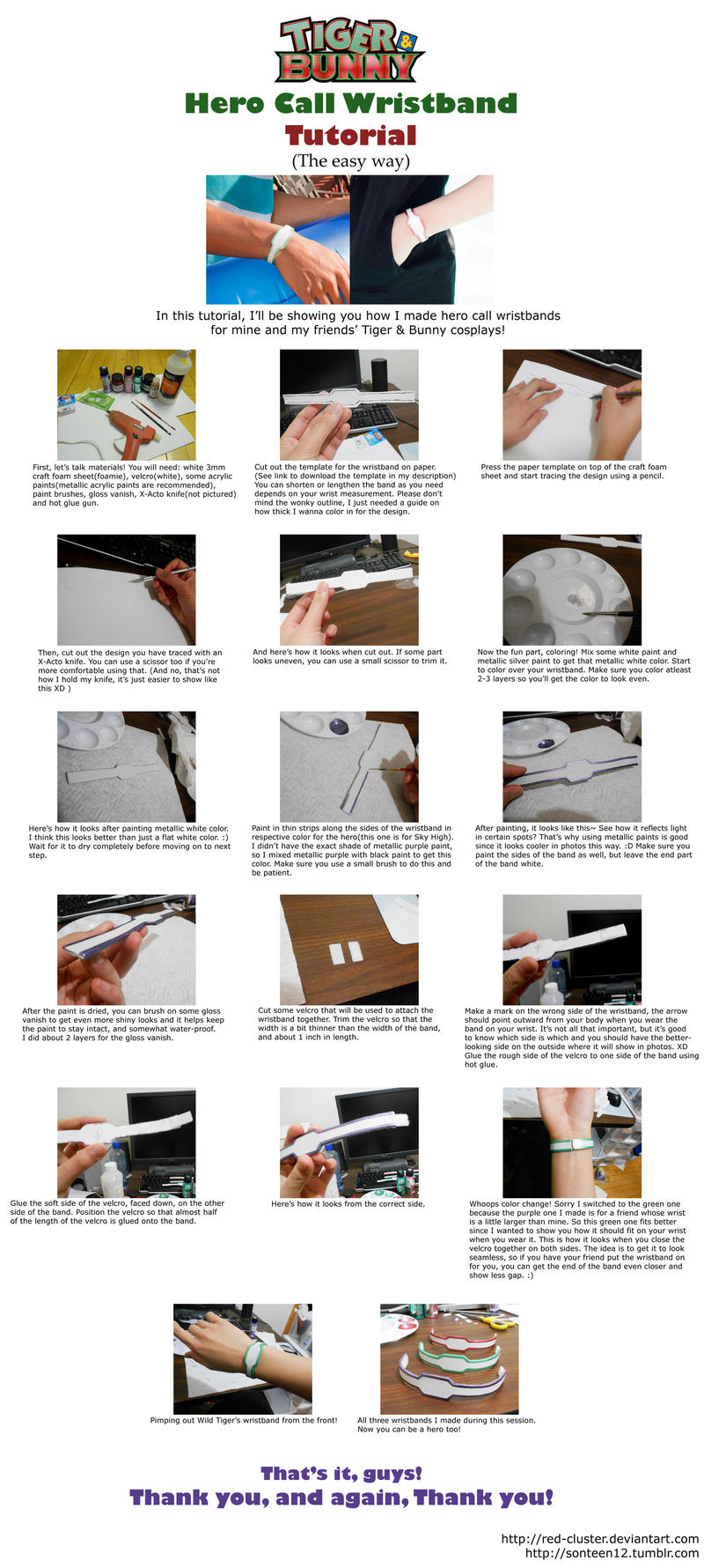 Tiger and Bunny Call Wristband Tutorial by Pisaracosplay