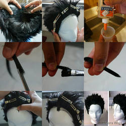 Glued hairline wig tutorial by Pisaracosplay