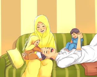 Happy Muslim Family by yana8nurel6bdkbaik