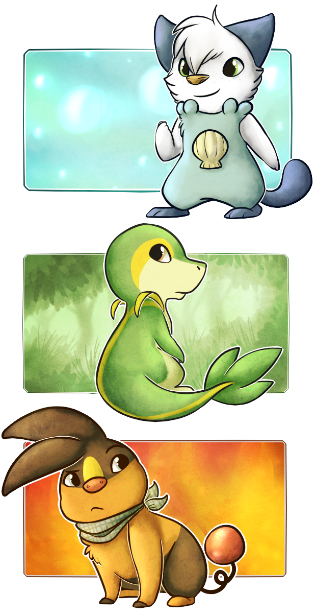 Unova Starters by Star-Swirls