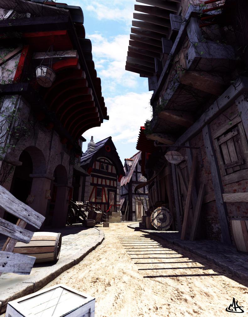 Medieval street by mherrador