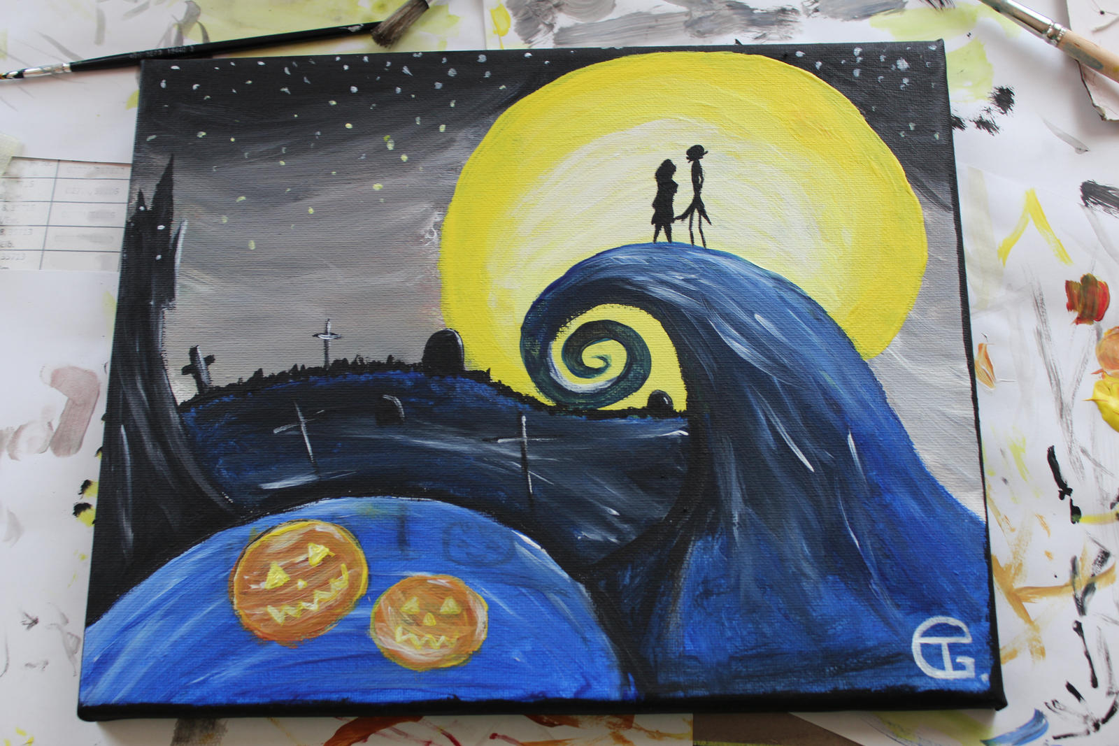 nightmare before christmas by akioxx fan art traditional art paintings ...
