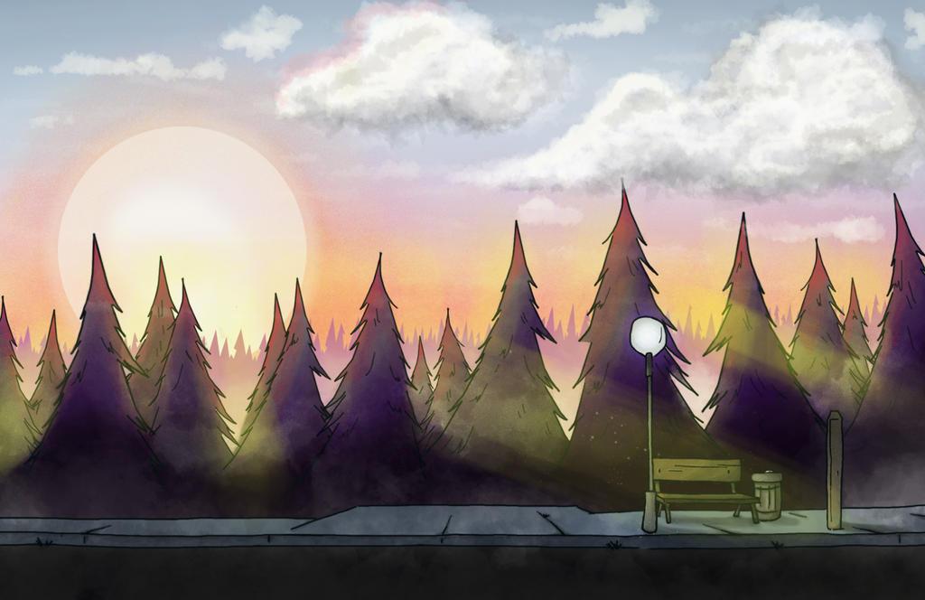 Gravity Falls sunrise study by carolinnebee