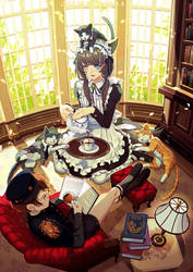 Tea time with cats and little master