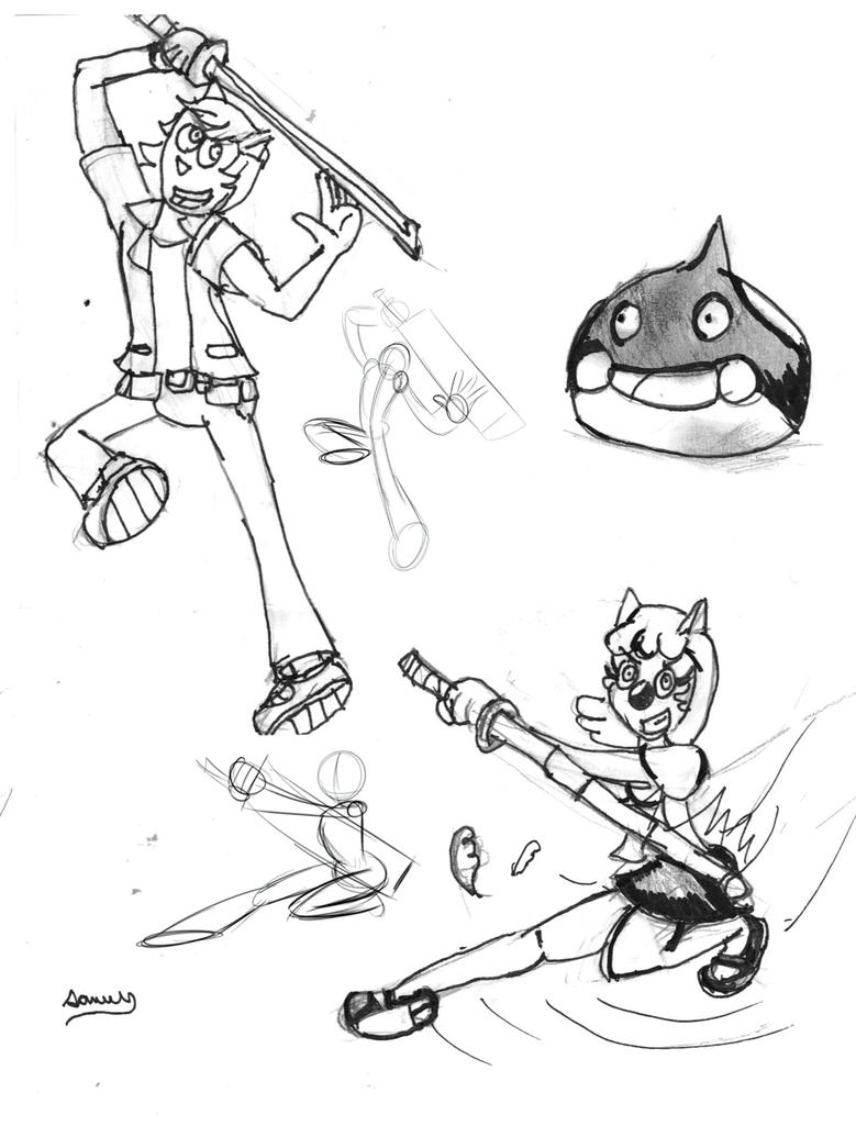 Sword Poses doodles by Cartoontriper
