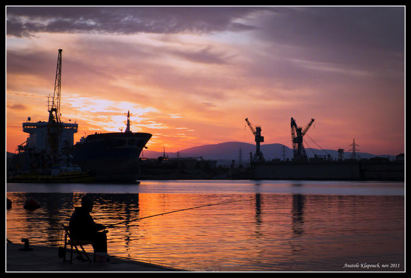 Mediterranean Sunrise - Old fisherman by klapouch