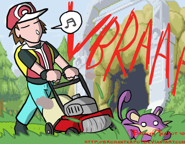 Mowing and Pokemon don't mix by BrokenTeapot on DeviantArt