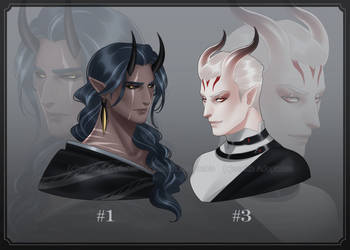 [CLOSED] Adoptable #34 Demon Bust Set by Zenithll