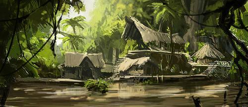 Jungle village by Elhour