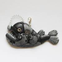 Angler Fish Steampunk Pendant by hatchinghut