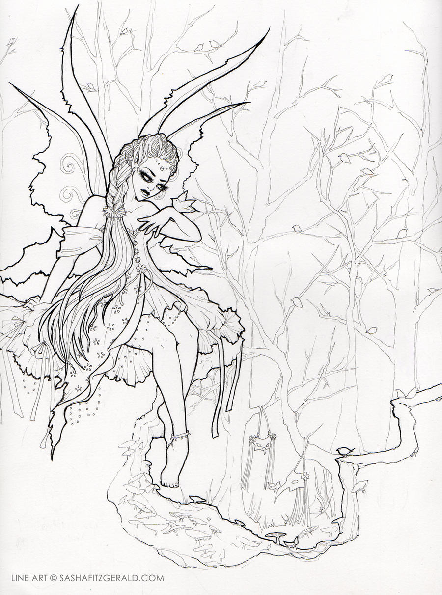 Line Art Forest : Fairy in the forest line art by sashafitzgerald on deviantart