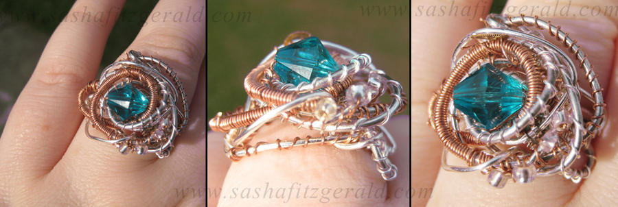 Handmade Steam Punk Ring with Turquoise Crystal by SashaFitzgerald