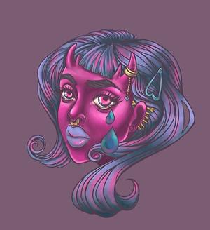Pink demon babe