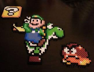 Luigi and Yoshi Perler