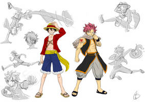Luffy and Natsu sketch by S-concept