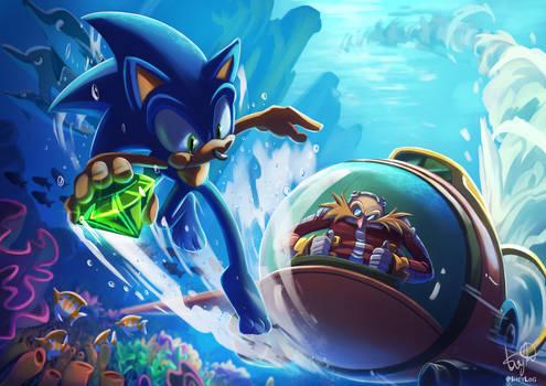 Comm.: Sonic and Eggman in the ocean