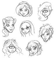 MH OC Fanart Head Sketches#6 by teddy-beard