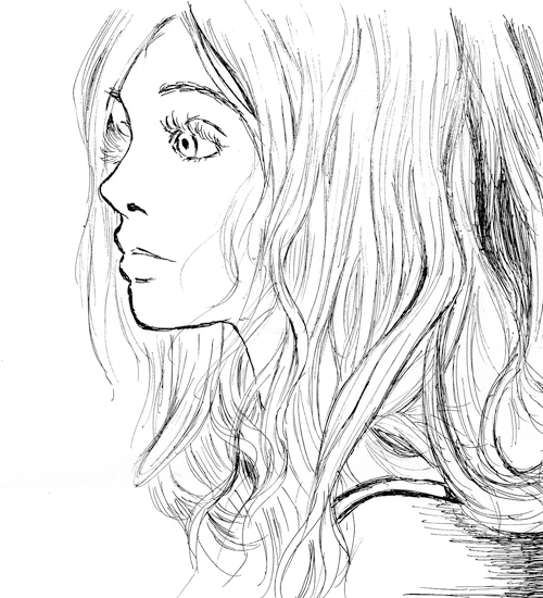 how to draw woman sideview