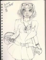 Punk rocker pen sketch by AKA-Osuke