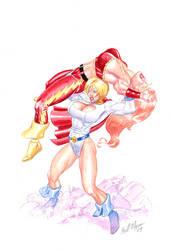 Power Girl vs Thundra by TheRaytrix