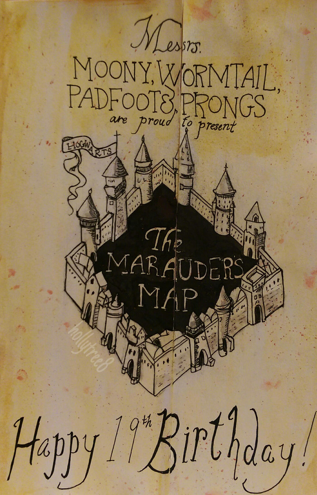 Harry Potter The Marauders Map Birthday Card by hollytree8 on