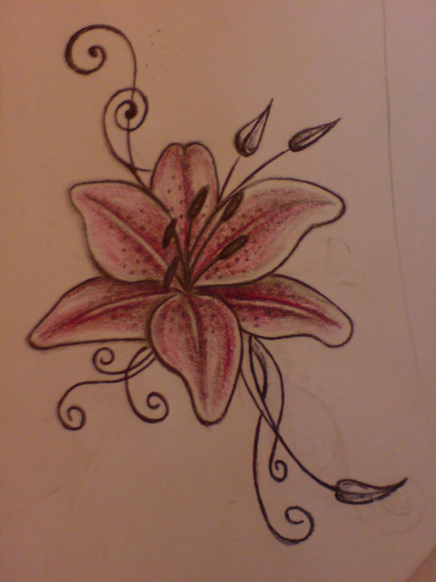 lily tattoo by aim z on deviantart. Black Bedroom Furniture Sets. Home Design Ideas