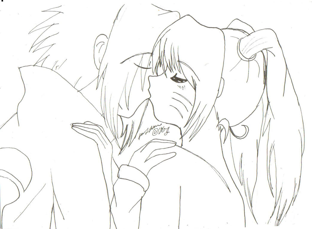 Naruko and Sasuke kiss lineart by KawaiiItchigo