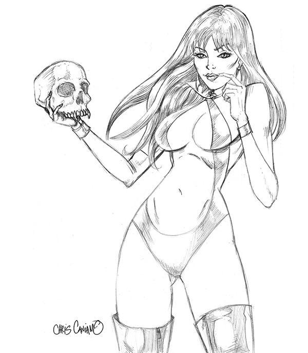 Vampirella holding skull by ChrisCansLab
