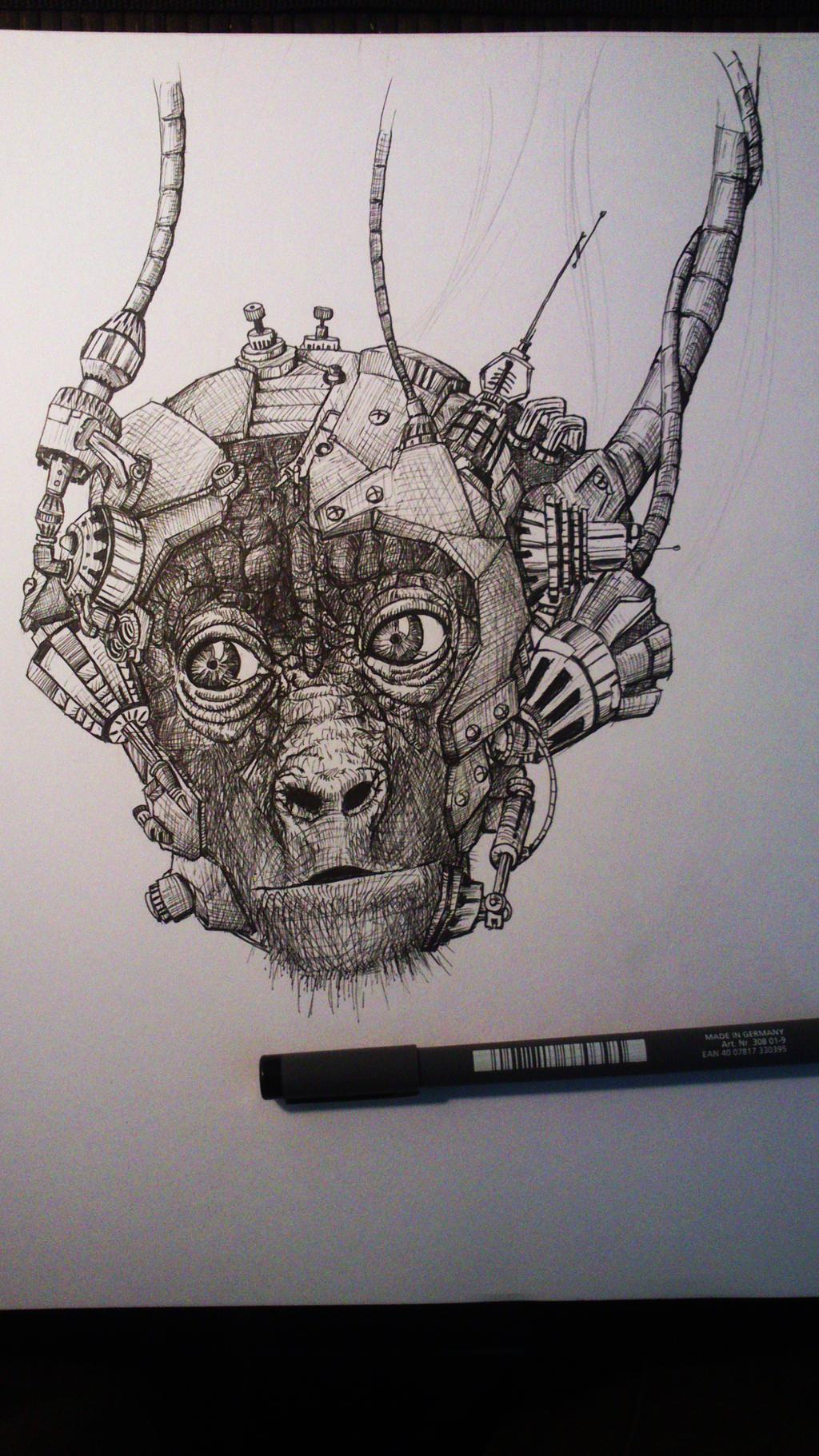 cyber chimp head by TomHeye