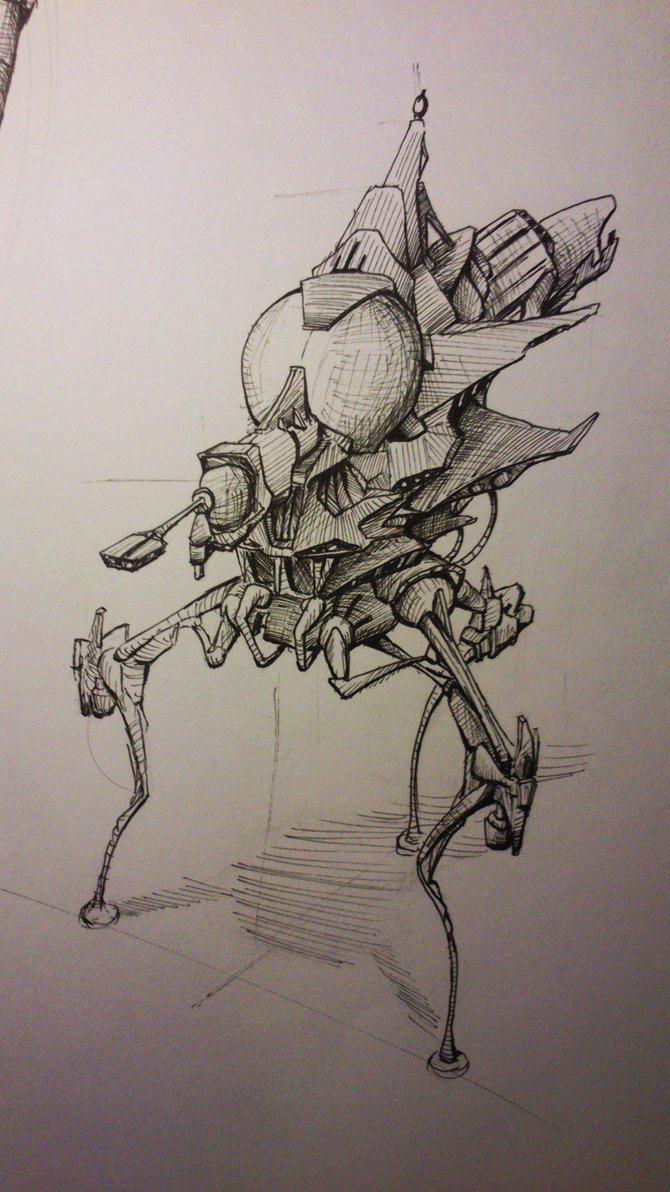 retro mech ufo deathray walker : ) by TomHeye