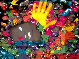 Rainbow Vomit Hands by len