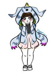 happy on Garurumon hoodie