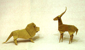 Origami Lion and gazelle