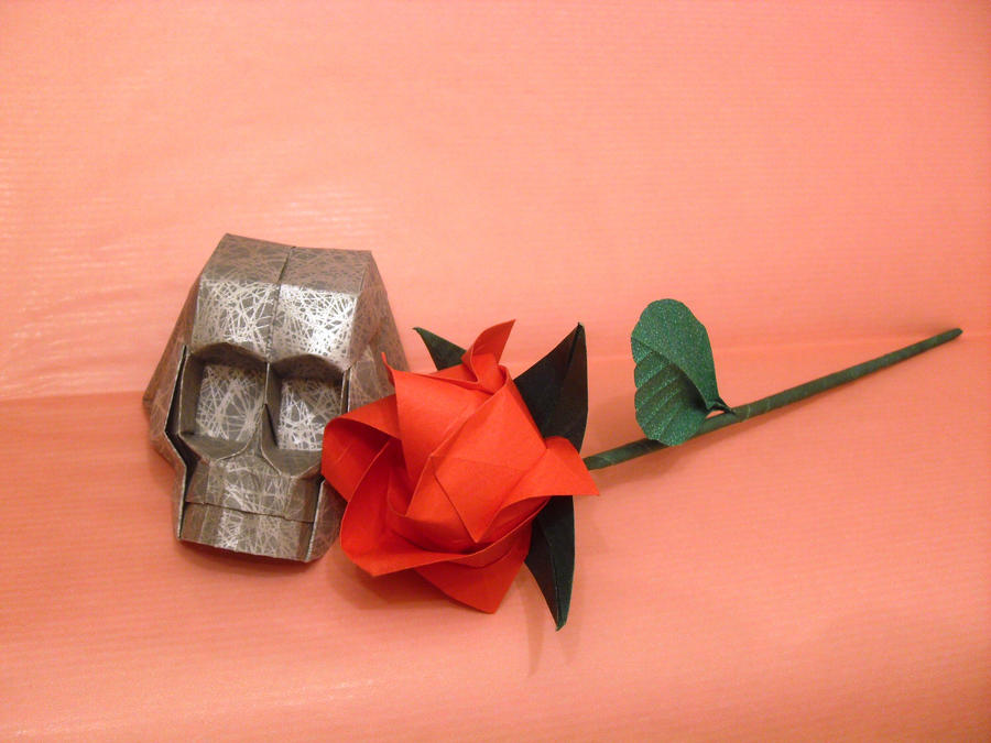 Origami Skull And Rose By Orestigami On Deviantart