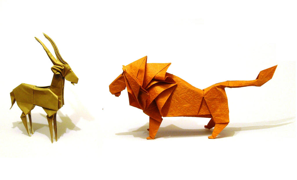 Origami Lion and Gazelle 3# by Orestigami