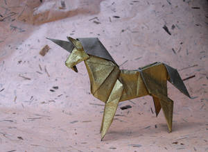 Origami Golden Unicorn