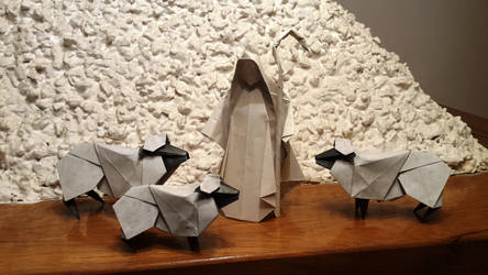 Origami Sheeps and shepherd
