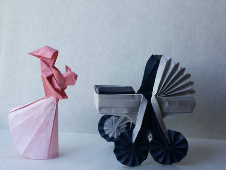 Origami mother and child