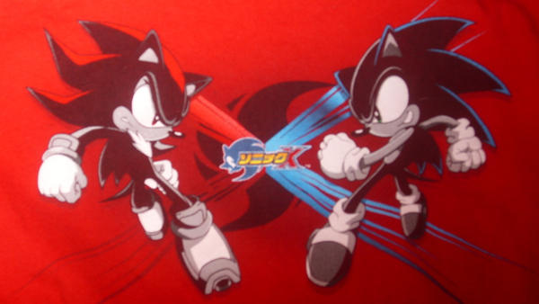Sonic and Shadow T-shirt by shadrougeluver