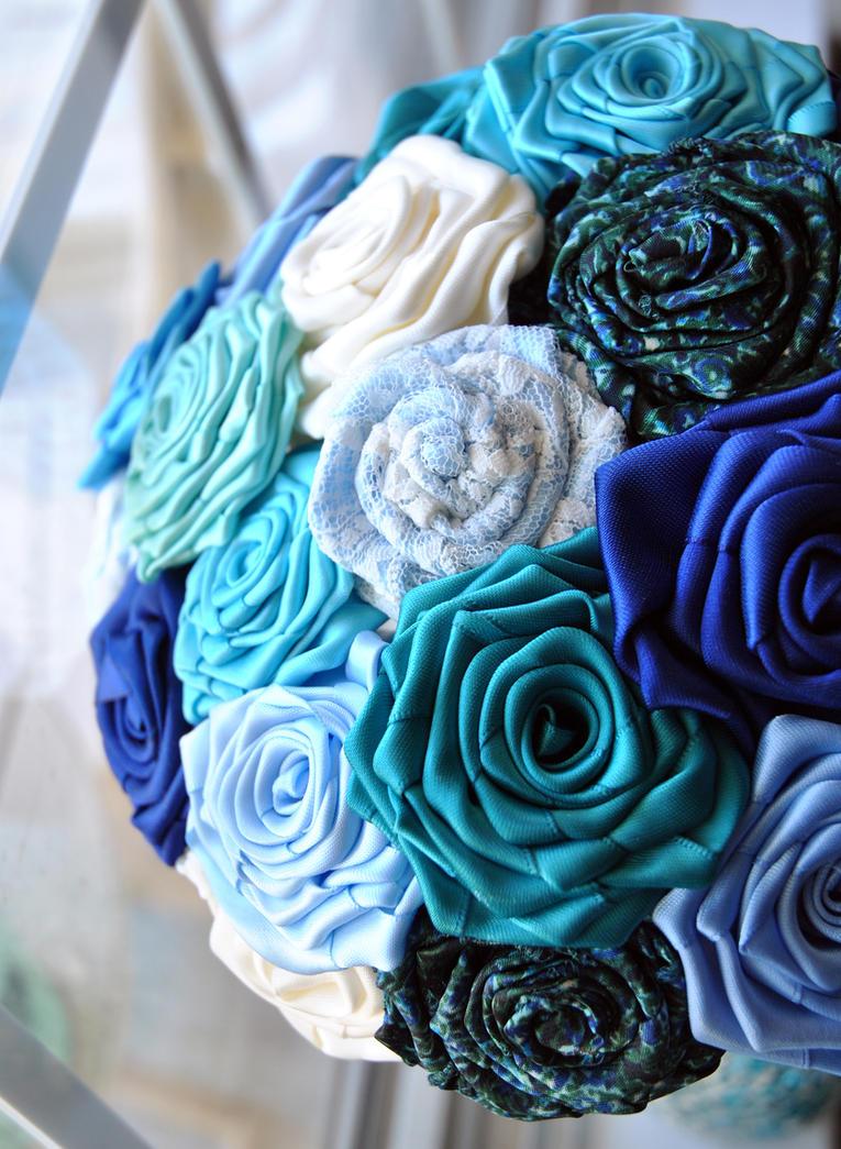 Blue Satin Ribbon Roses Bridal Bouquet by megalbagel on DeviantArt