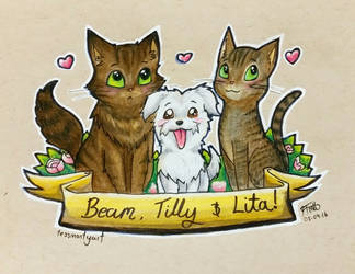 Prismacolor Pet Commission - Beam Tilly and Lita