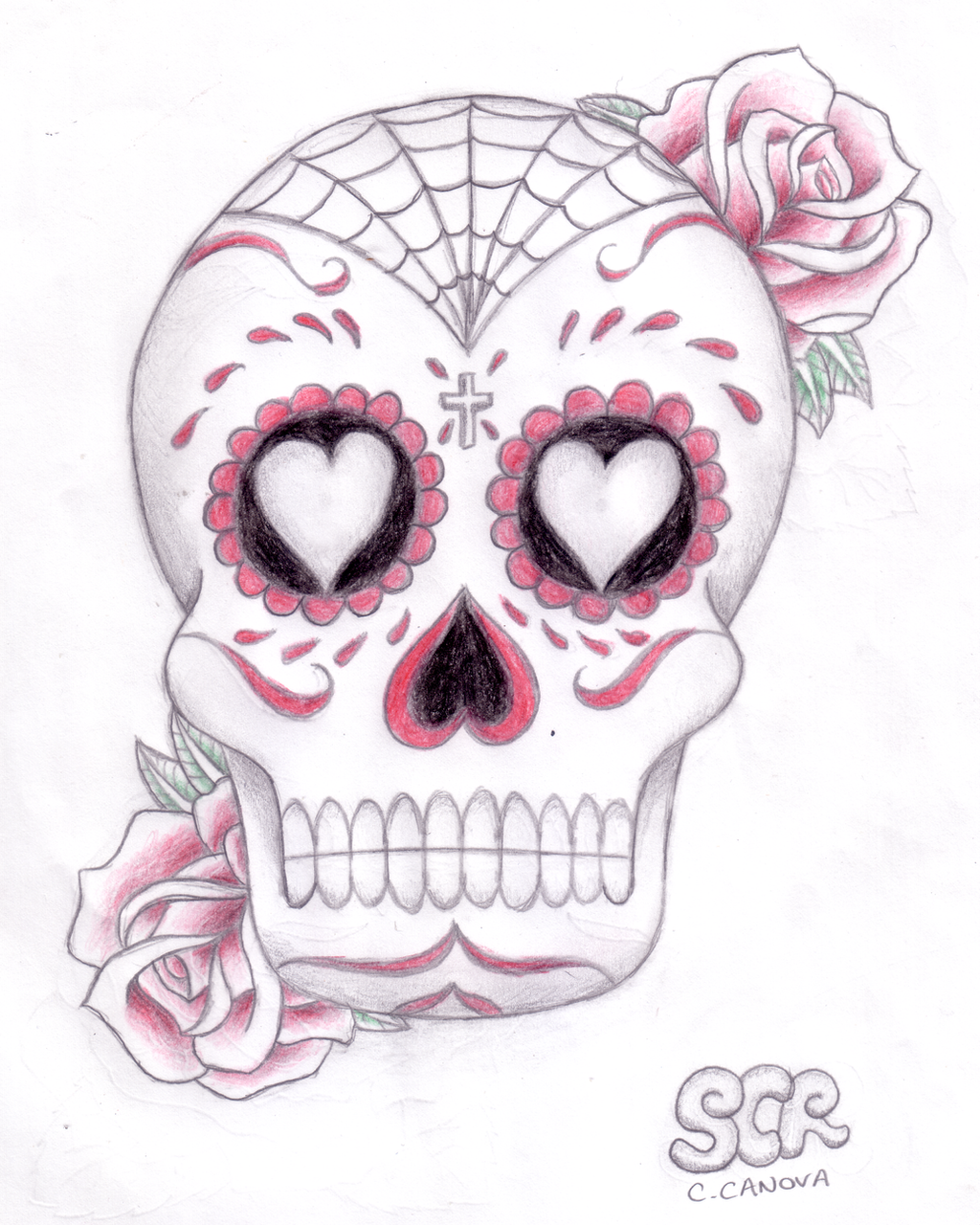 sugar skull n roses by steelchildrocks