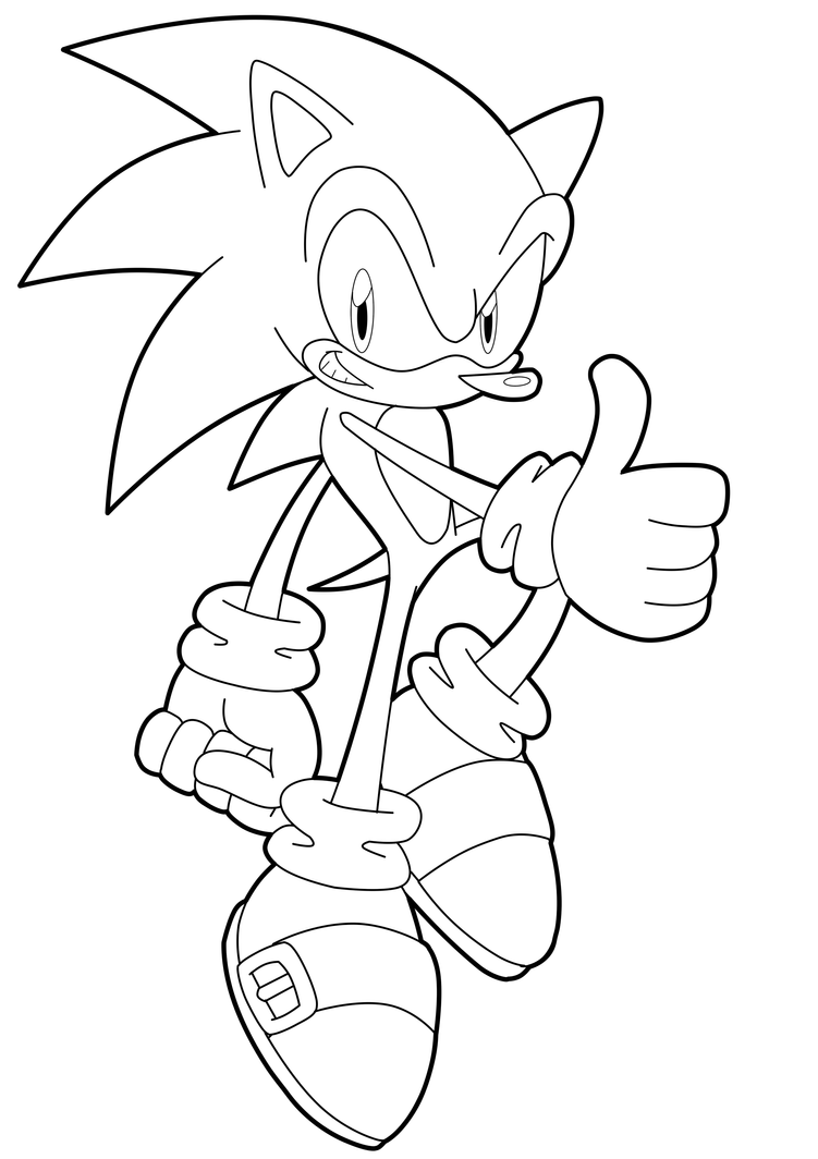 Line Drawing Hedgehog : Collab sonic lineart by fly sky high on deviantart