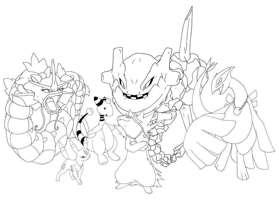 My Pokemon Team Lineart By Fly Sky High