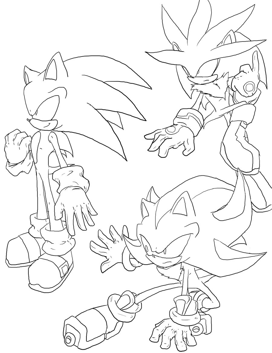 coloring pages of sonic and shadow - sonic shadow silver by fly sky high on deviantart