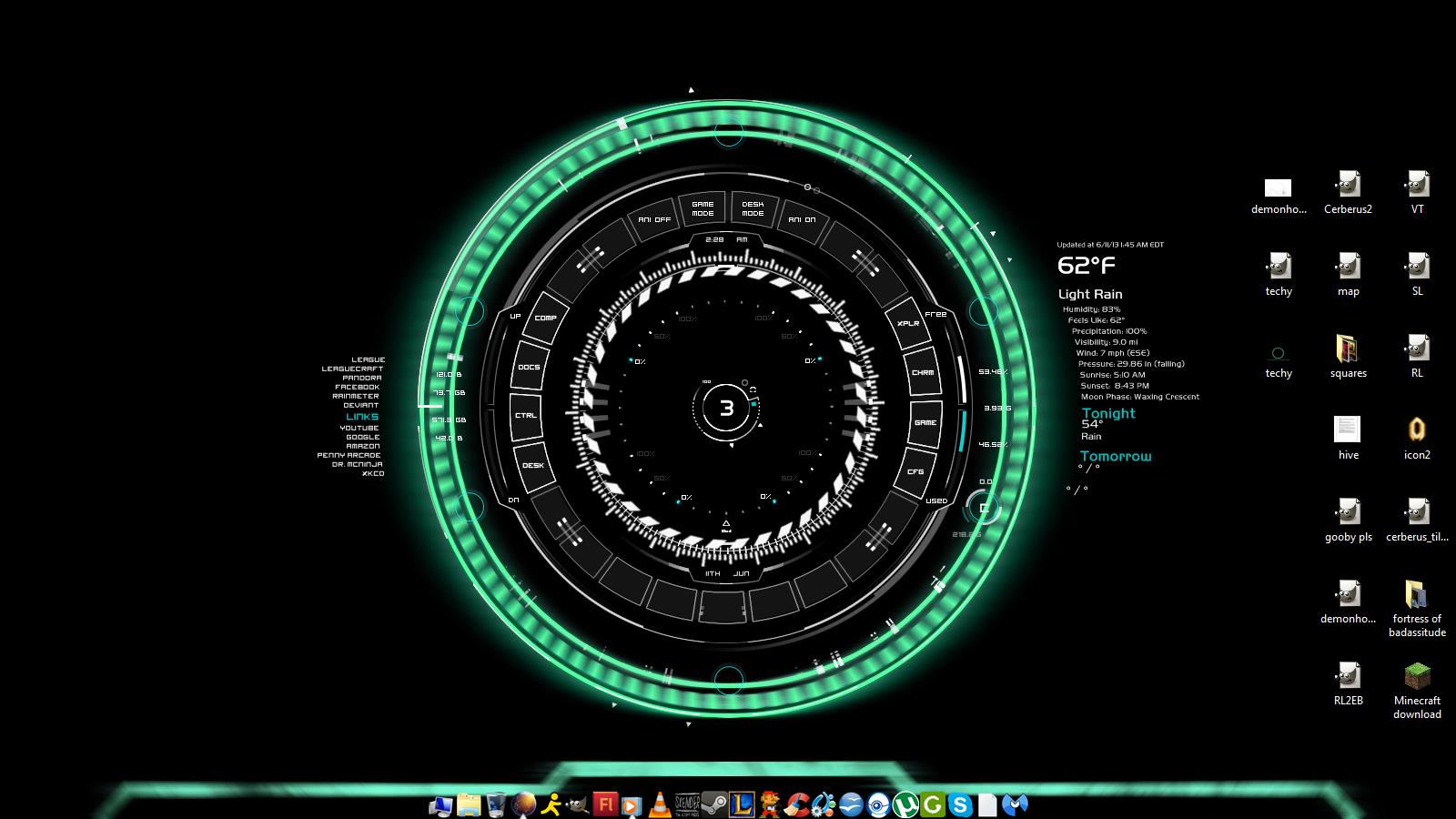 screenshot green ring wallpaper w rainmeter skin by