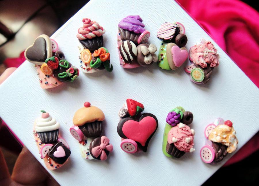 3d Cake Nail Art : CUPCAKE SWEETS 3D STYLE NAILS by jadelushdesigns on DeviantArt