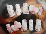 CUTE WHITE AND PINK PASTEL NAIL SET by jadelushdesigns